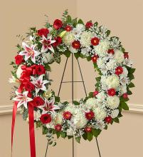Red Rose and Lily Standing Wreath